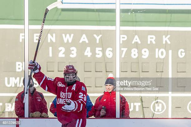 Jacob Forsbacka Karlsson of Boston University reacts after scoring a goal during the first period of a Frozen Fenway game against the University of...