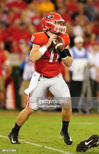Jacob Fromm of the Georgia Bulldogs passes against the Missouri Tigers at Sanford Stadium on October 14 2017 in Athens Georgia