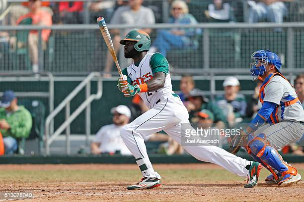Jacob Heyward of the Miami Hurricanes hits the ball against the Florida Gators on February 28 2016 at Alex Rodriguez Park at Mark Light Field in...