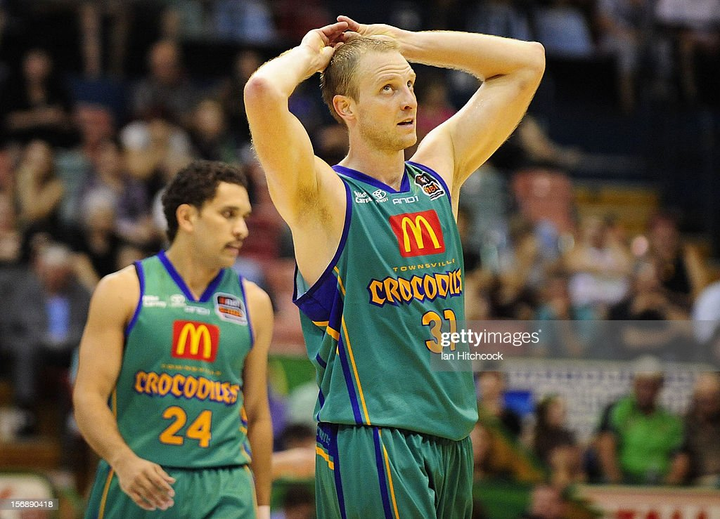 Jacob Holmes of the Crocodiles reacts after losing the round eight NBL match between the Townsville Crocodiles and the Perth Wildcats at Townsville Entertainment Centre on November 24, 2012 in Townsville, Australia.