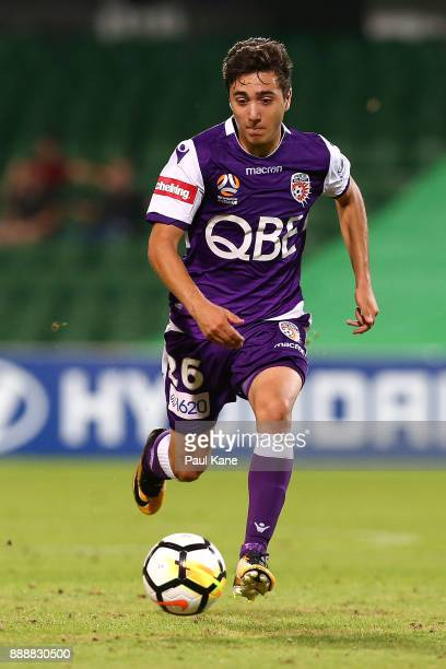 Jacob Italiano of the Glory controls the ball during the round 10 ALeague match between the Perth Glory and the Newcastle Jets at nib Stadium on...