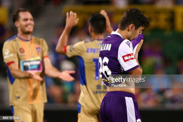 Jacob Italiano of the Glory reacts after being defeated during the round 10 ALeague match between the Perth Glory and the Newcastle Jets at nib...