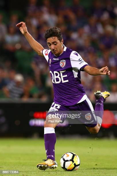Jacob Italiano of the Glory takes a shot on goal during the round 10 ALeague match between the Perth Glory and the Newcastle Jets at nib Stadium on...