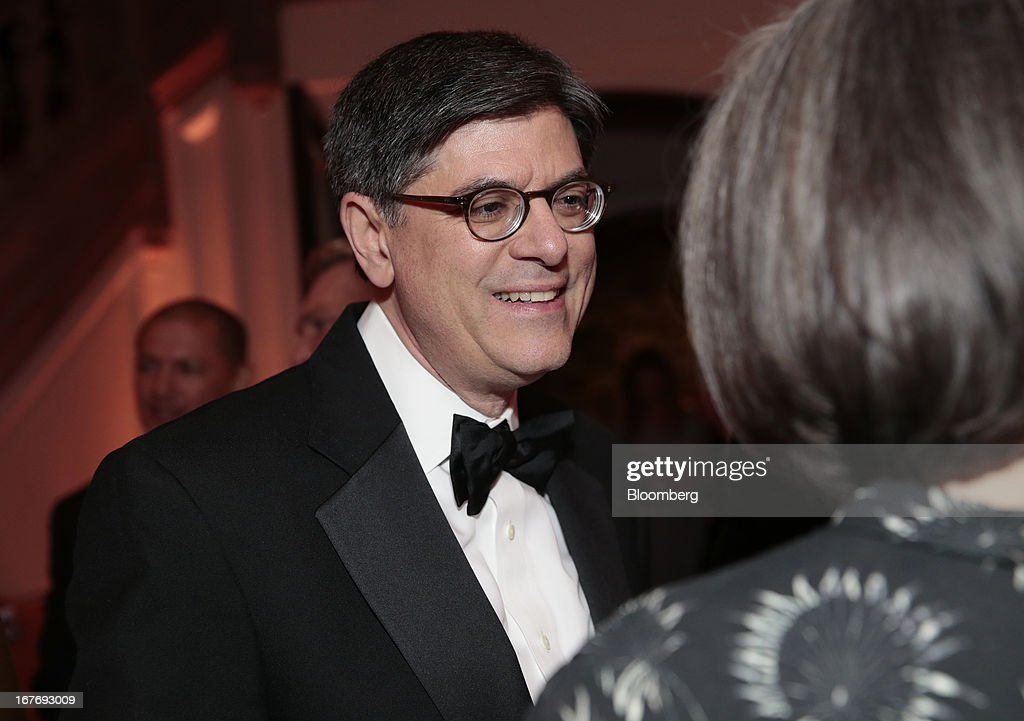 Jacob 'Jack' Lew, U.S. treasury secretary, attends the Bloomberg Vanity Fair White House Correspondents' Association (WHCA) dinner afterparty in Washington, D.C., U.S., on Saturday, April 27, 2013. The 99th annual dinner raises money for WHCA scholarships and honors the recipients of the organization's journalism awards. Photographer: Andrew Harrer/Bloomberg via Getty Images