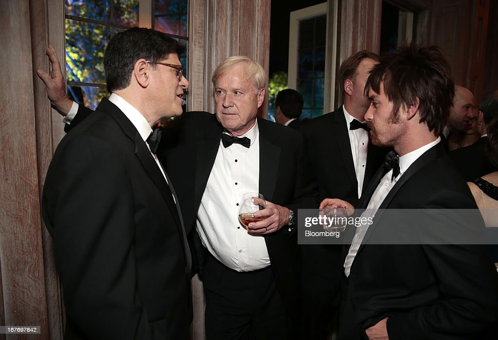 Jacob 'Jack' Lew, U.S. treasury secretary, from left, MSNBC television host Chris Matthews, and Thomas Matthews attend the Bloomberg Vanity Fair White House Correspondents' Association (WHCA) dinner afterparty in Washington, D.C., U.S., on Saturday, April 27, 2013. The 99th annual dinner raises money for WHCA scholarships and honors the recipients of the organization's journalism awards. Photographer: Andrew Harrer/Bloomberg via Getty Images