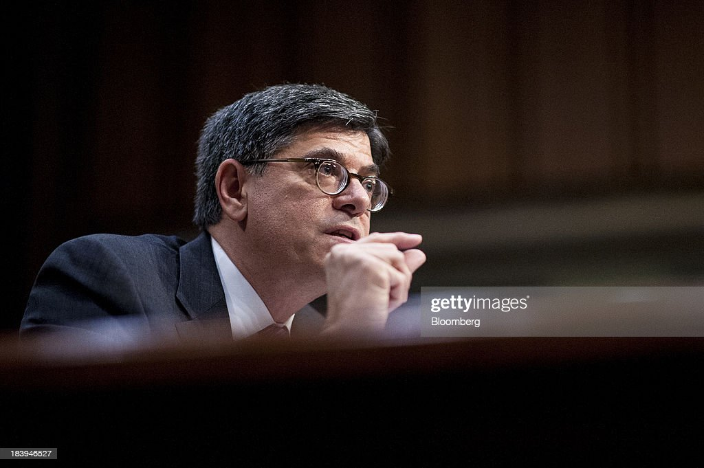Jacob 'Jack' Lew, U.S. treasury secretary, testifies before the Senate Finance Committee on Capitol Hill in Washington, D.C., U.S., on Thursday, Oct.10, 2013. Lew warned that the congressional deadlock over the U.S. debt ceiling is 'beginning to stress the financial markets,' and failing to raise it by Oct. 17 could put Social Security and Medicare payments at risk. Photographer: Pete Marovich/Bloomberg via Getty Images