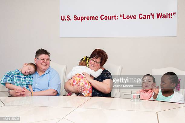 Jacob Jayne Rowse April DeBoer Rylee Nolan and Ryanne attend Attorney Gloria Allred DeBoer V Snyder Marriage Equality Issue and US Supreme Court News...