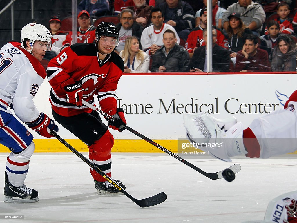 <a gi-track='captionPersonalityLinkClicked' href=/galleries/search?phrase=Jacob+Josefson&family=editorial&specificpeople=5648065 ng-click='$event.stopPropagation()'>Jacob Josefson</a> #9 of the New Jersey Devils skates against the Montreal Canadiens at the Prudential Center on April 23, 2013 in Newark, New Jersey. The Devils defeated the Canadiens 3-2.