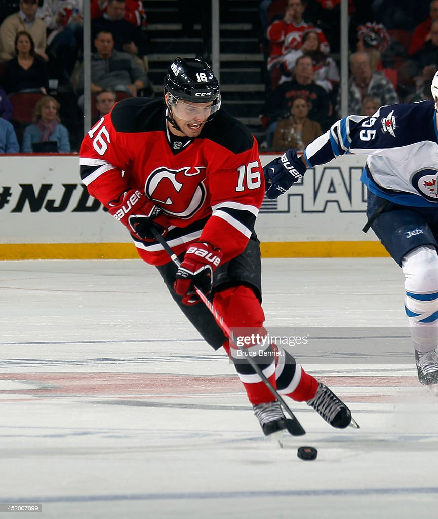 Jacob Josefson #16 of the New Jersey Devils skates against the Winnipeg Jets at the Prudential Center on November 25, 2013 in Newark, New Jersey. The Jets defeated the Devils 3-1.