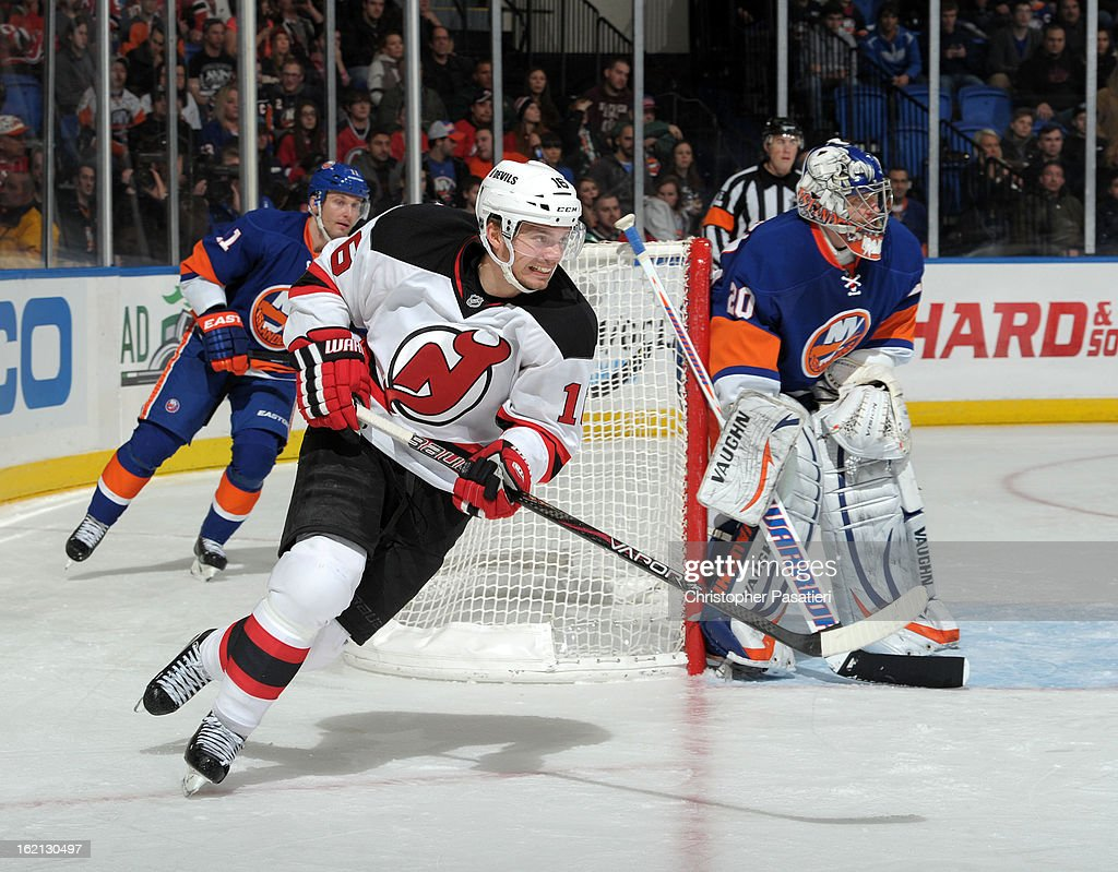 Jacob Josefson #16 of the New Jersey Devils skates during the game against the New York Islanders on February 16, 2013 at Nassau Veterans Memorial Coliseum in Uniondale, New York.