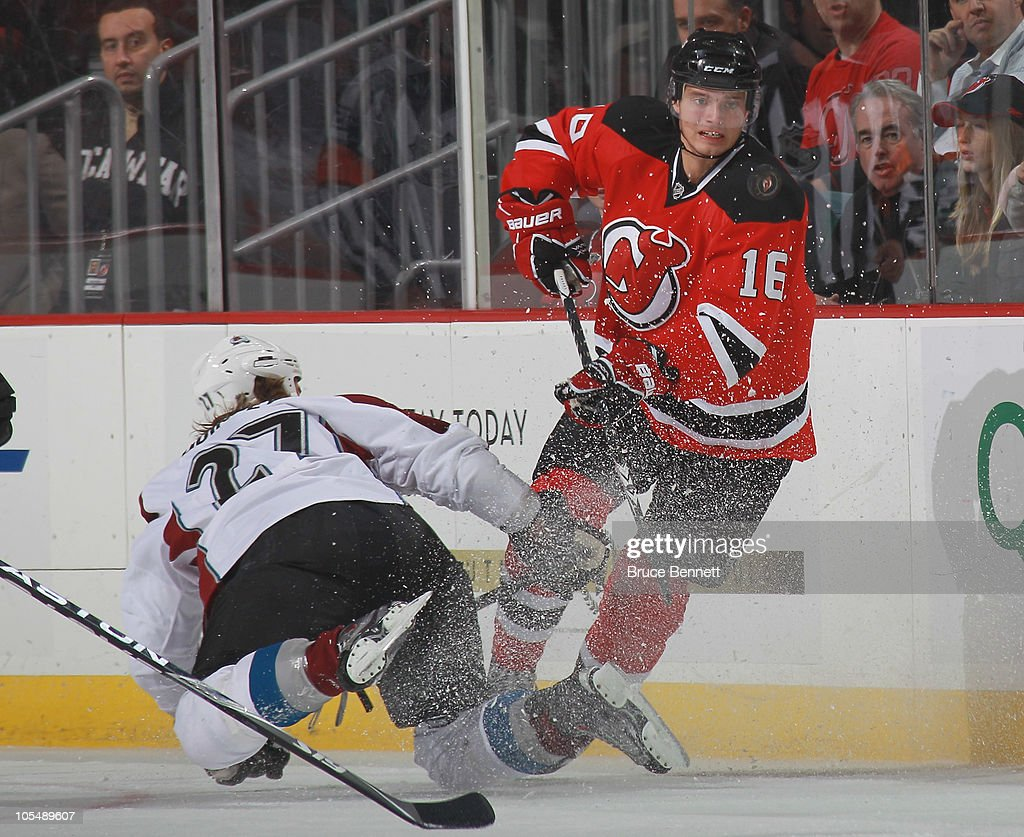 Jacob Josefson of the New Jersey Devils skates in his first shift of his first NHL game against Kyle Quincey of the Colorado Avalanche at the...