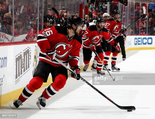 Jacob Josefson of the New Jersey Devils takes the puck in third period against the Ottawa Senators on February 16 2017 at Prudential Center in Newark...