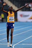 Jacob Kiplimo from Uganda celebrates his silver medal in men's 10000 meters final at the IAAF World U20 Championships Day 1 at Zawisza Stadium on...