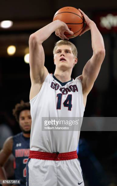 Jacob Larsen of the Gonzaga Bulldogs takes a free throw against the Howard Bison in the game at McCarthey Athletic Center on November 14 2017 in...