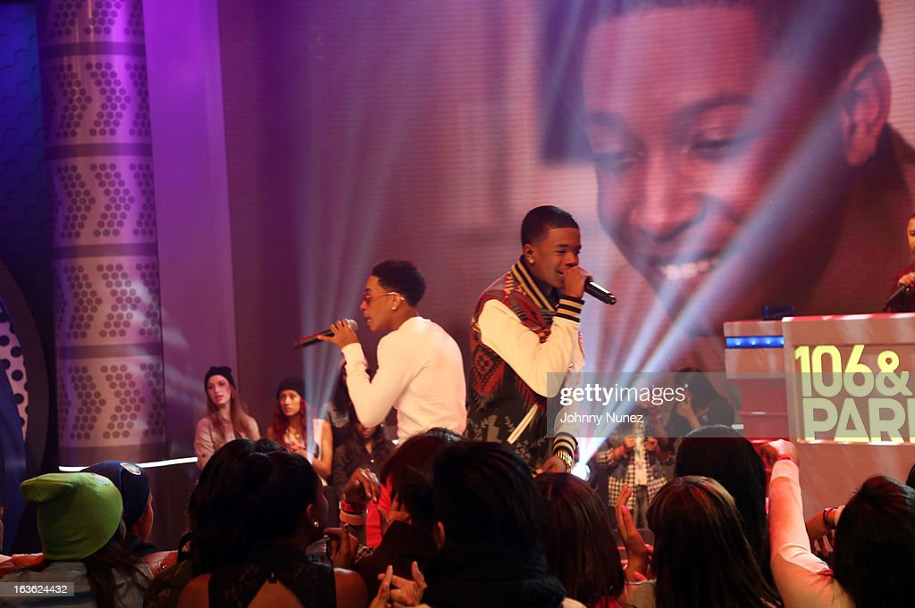 <a gi-track='captionPersonalityLinkClicked' href=/galleries/search?phrase=Jacob+Latimore&family=editorial&specificpeople=5410256 ng-click='$event.stopPropagation()'>Jacob Latimore</a> and Young Marqus perform on BET's '106 & Park' at BET Studios on March 11, 2013 in New York City.