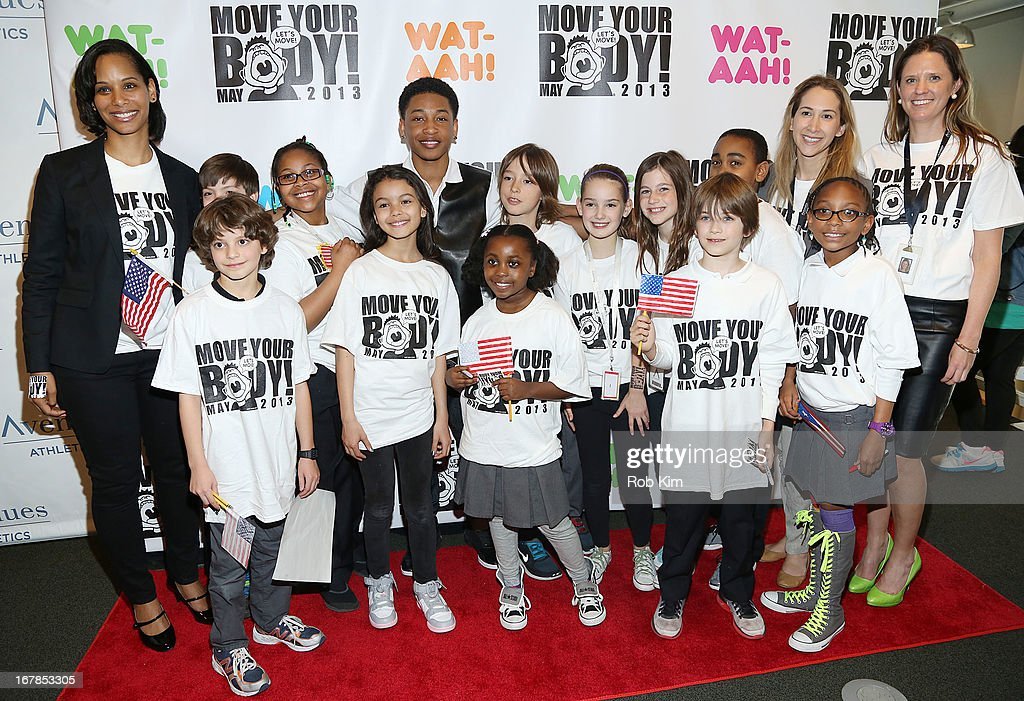 Jacob Latimore (Rear Center) attends WAT-AAH! Foundation Move Your Body 2013 Flash Workout at The Avenues World School on May 1, 2013 in New York City.