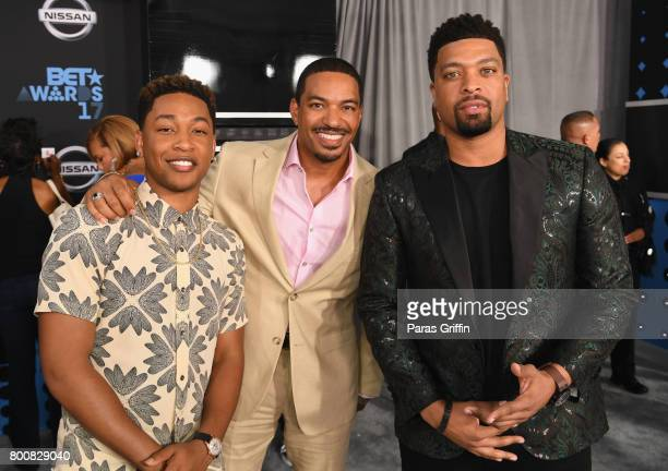 Jacob Latimore Laz Alonso and Deray Davis at the 2017 BET Awards at Staples Center on June 25 2017 in Los Angeles California