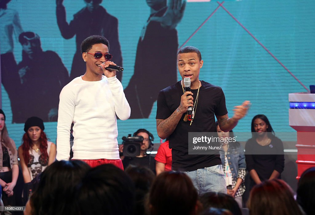 <a gi-track='captionPersonalityLinkClicked' href=/galleries/search?phrase=Jacob+Latimore&family=editorial&specificpeople=5410256 ng-click='$event.stopPropagation()'>Jacob Latimore</a> visits BET's '106 & Park' with host <a gi-track='captionPersonalityLinkClicked' href=/galleries/search?phrase=Bow+Wow+-+Rapper&family=editorial&specificpeople=211211 ng-click='$event.stopPropagation()'>Bow Wow</a> at BET Studios on March 11, 2013 in New York City.