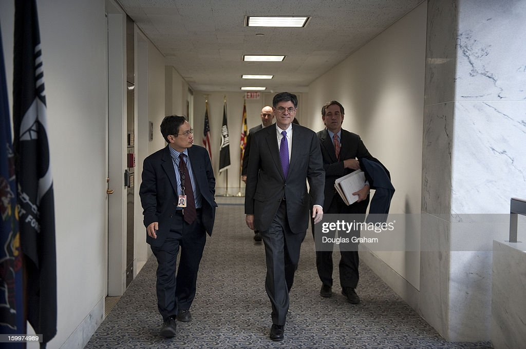 Jacob Lew, the president's nominee for Treasury Secretary arrives at Sen. Pat Toomey, R-Pa., office in Hart Senate Office Building on January 24, 2013.