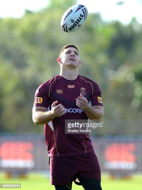 Jacob Lillyman keeps his eye on the ball during a Queensland Maroons State of Origin training session at InterContinental Sanctuary Cove Resort...