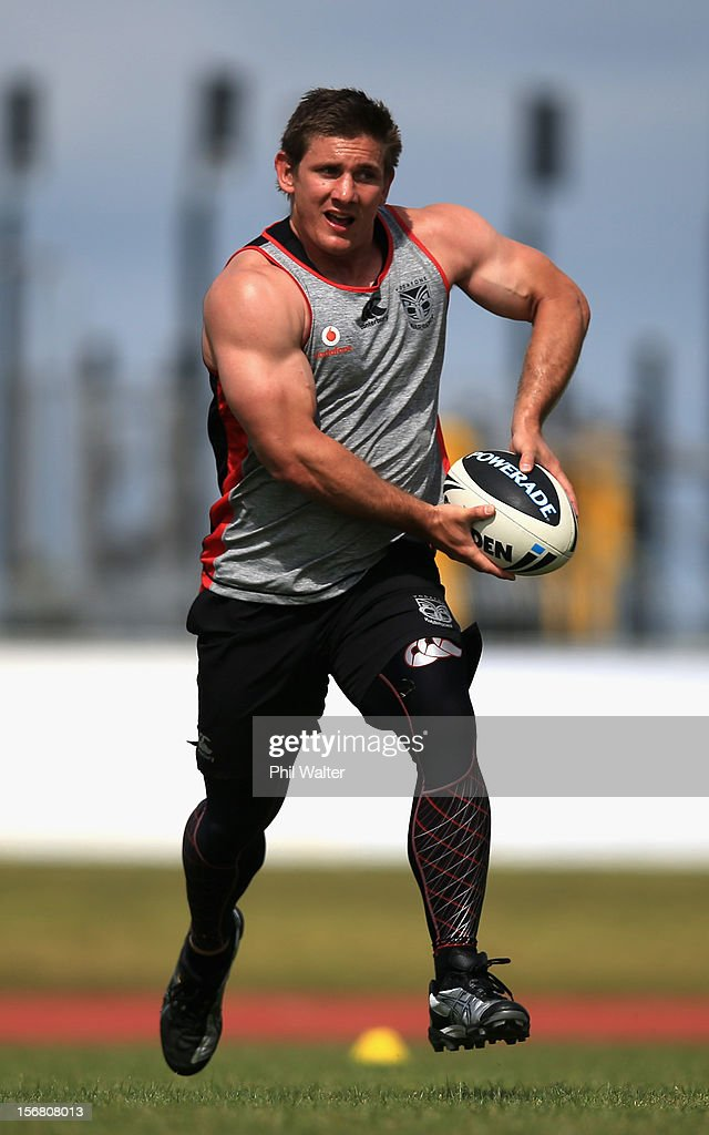 Jacob Lillyman of the Warriors runs the ball during a New Zealand Warriors NRL pre-season training session at the Millenium Institute on November 22, 2012 in Auckland, New Zealand.