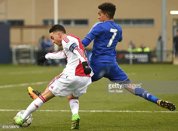 Jacob Maddox of Chelsea and Abdelhak Nouri of Ajax in action during the UEFA Youth League quarter final match between Chelsea and Ajax at Chelsea...