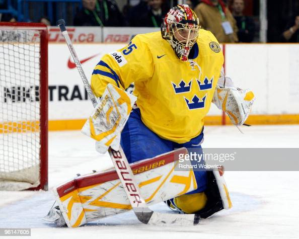 Jacob Markstrom of Team Sweden gets down to stop a shot during the 2010 IIHF World Junior Championship Tournament Semifinal game against Team USA on...
