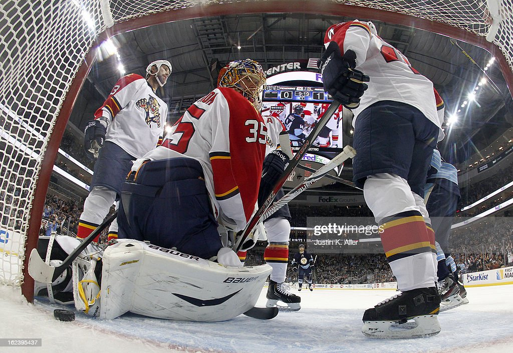 <a gi-track='captionPersonalityLinkClicked' href=/galleries/search?phrase=Jacob+Markstrom&family=editorial&specificpeople=5370948 ng-click='$event.stopPropagation()'>Jacob Markstrom</a> #35 of the Florida Panthers looks back after giving up a goal to <a gi-track='captionPersonalityLinkClicked' href=/galleries/search?phrase=Chris+Kunitz&family=editorial&specificpeople=604159 ng-click='$event.stopPropagation()'>Chris Kunitz</a> #14 of the Pittsburgh Penguins (not pictured) in the second period during the game at Consol Energy Center on February 22, 2013 in Pittsburgh, Pennsylvania. The Penguins won 3-1.