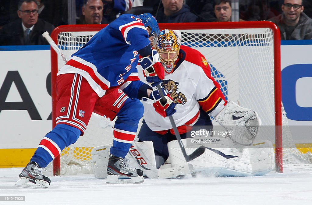 Jacob Markstrom #35 of the Florida Panthers makes a pad save on a shot by Marian Gaborik #10 of the New York Rangers at Madison Square Garden on March 21, 2013 in New York City.