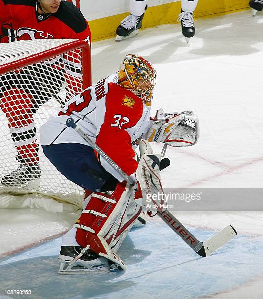 Jacob Markstrom of the Florida Panthers playing in his first NHL game defends his goal against the New Jersey Devils during the game at the...