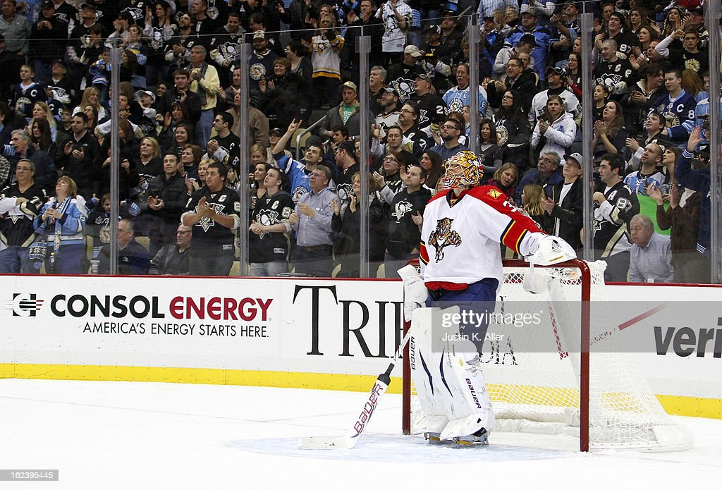 Jacob Markstrom #35 of the Florida Panthers reacts after giving up a goal to the Pittsburgh Penguins in the third period during the game at Consol Energy Center on February 22, 2013 in Pittsburgh, Pennsylvania. The Penguins won 3-1.