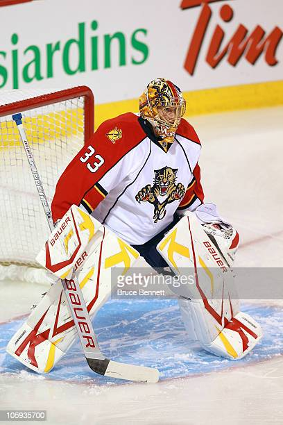 Jacob Markstrom of the Florida Panthers skates against the Montreal Canadiens at the Bell Centre on September 27 2010 in Montreal Canada