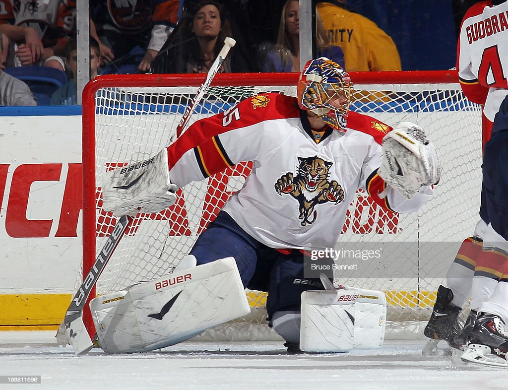 Jacob Markstrom #35 of the Florida Panthers skates against the New York Islanders at the Nassau Veterans Memorial Coliseum on April 16, 2013 in Uniondale, New York. The Islanders defeated the Panthers 5-2.