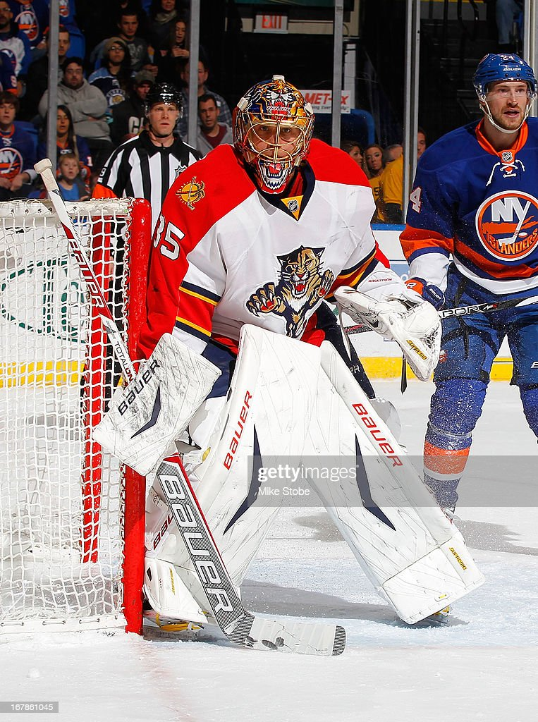 Jacob Markstrom #35 of the Florida Panthers skates against the New York Islanders at Nassau Veterans Memorial Coliseum on April 16, 2013 in Uniondale, New York. The New York Islanders defeated the Florida Panthers 5-2.
