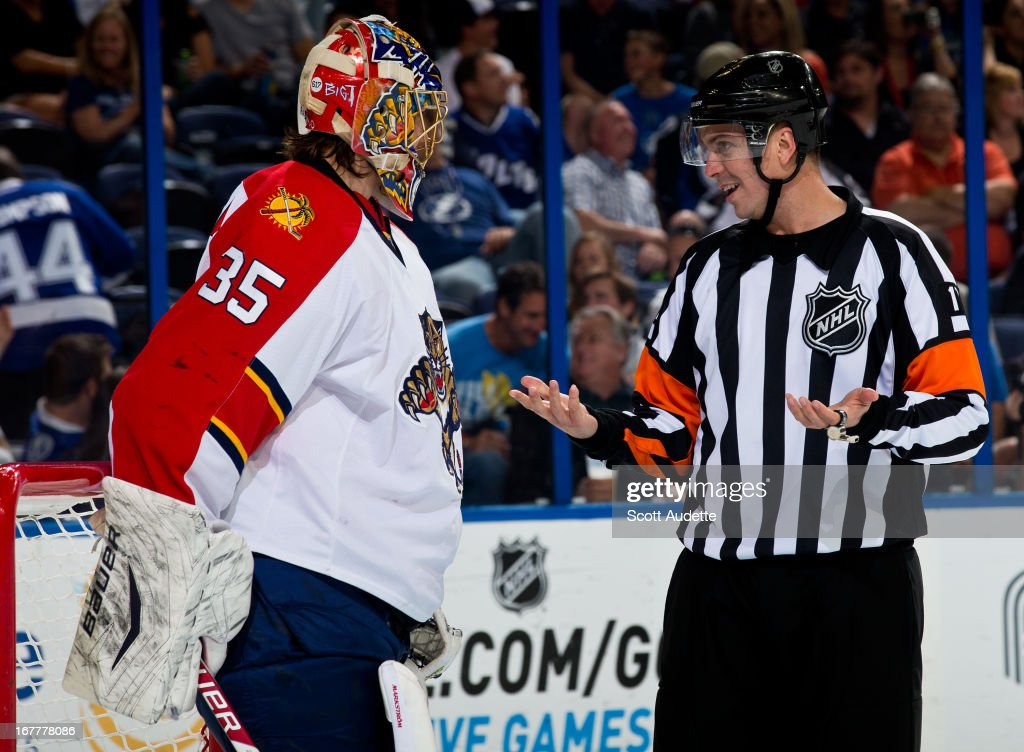 Jacob Markstrom #35 of the Florida Panthers talks to a referee during the third period of the game against the Tampa Bay Lightning at the Tampa Bay Times Forum on April 27, 2013 in Tampa, Florida.