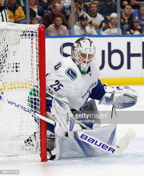 Jacob Markstrom of the Vancouver Canucks during the game against the Buffalo Sabres at the KeyBank Center on October 20 2017 in Buffalo New York