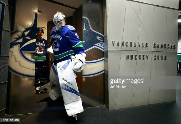 Jacob Markstrom of the Vancouver Canucks leaves the dressing room before their NHL game against the Vegas Golden Knights at Rogers Arena November 16...