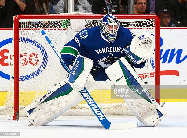 Jacob Markstrom of the Vancouver Canucks looks on from his crease during their NHL game against the Columbus Blue Jackets at Rogers Arena March 19...