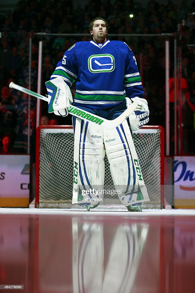 <a gi-track='captionPersonalityLinkClicked' href=/galleries/search?phrase=Jacob+Markstrom&family=editorial&specificpeople=5370948 ng-click='$event.stopPropagation()'>Jacob Markstrom</a> #35 of the Vancouver Canucks looks on from his crease during their NHL game against the Colorado Avalanche at Rogers Arena April 10, 2014 in Vancouver, British Columbia, Canada.