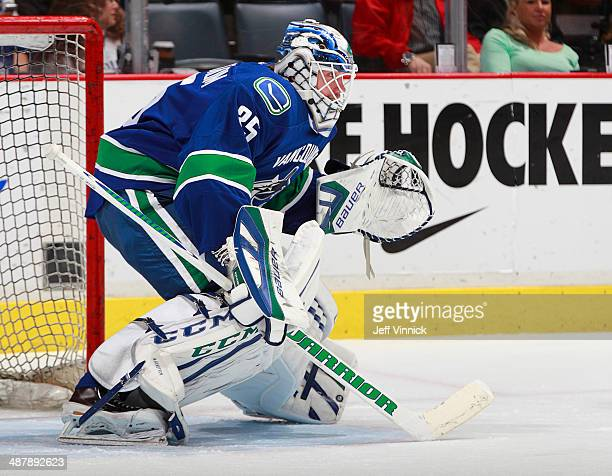 Jacob Markstrom of the Vancouver Canucks looks on from his crease during their NHL game against the Anaheim Ducks at Rogers Arena April 7 2014 in...