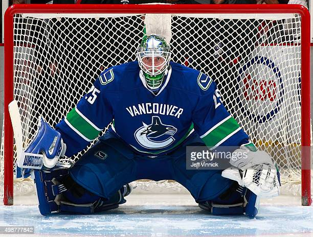 Jacob Markstrom of the Vancouver Canucks looks on from his crease during their NHL game against the New Jersey Devils at Rogers Arena November 22...