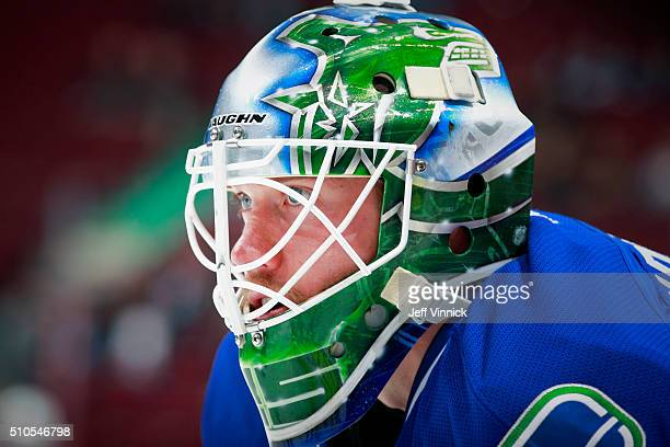 Jacob Markstrom of the Vancouver Canucks looks on from his crease during their NHL game against the Columbus Blue Jackets at Rogers Arena February 4...
