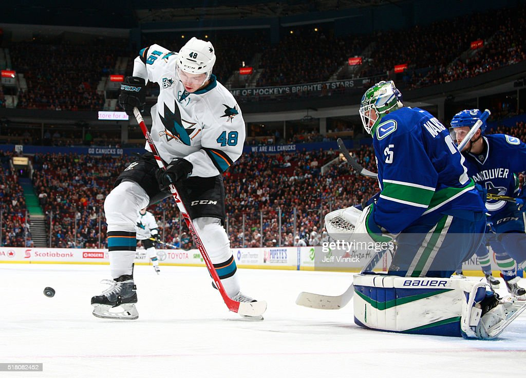 Jacob Markstrom #25 of the Vancouver Canucks makes a save on Tomas Hertl #48 of the San Jose Sharks during their NHL game at Rogers Arena March 29, 2016 in Vancouver, British Columbia, Canada. San Jose won 4-1.
