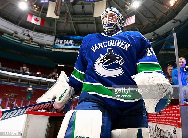 Jacob Markstrom of the Vancouver Canucks walks out to the ice during their NHL game against the Columbus Blue Jackets at Rogers Arena March 19 2015...