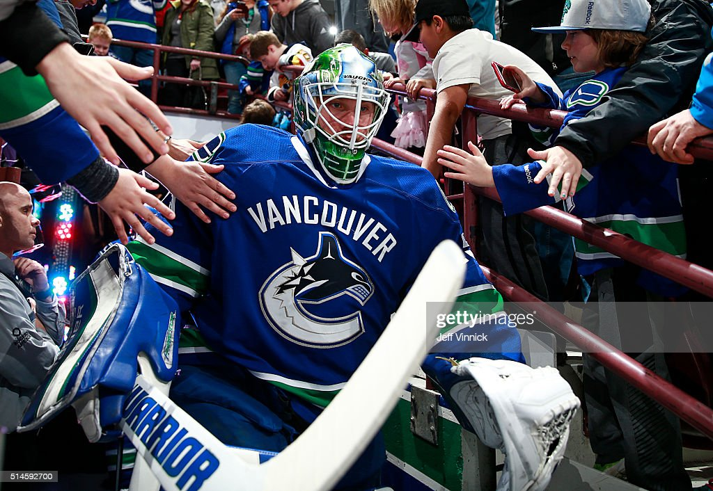 Jacob Markstrom #25 of the Vancouver Canucks walks out to the ice during their NHL game against the Arizona Coyotes at Rogers Arena March 9, 2016 in Vancouver, British Columbia, Canada. Vancouver won 3-2 in overtime.
