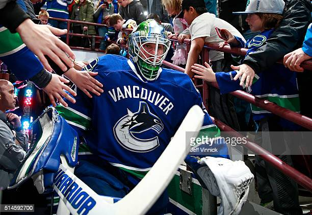 Jacob Markstrom of the Vancouver Canucks walks out to the ice during their NHL game against the Arizona Coyotes at Rogers Arena March 9 2016 in...