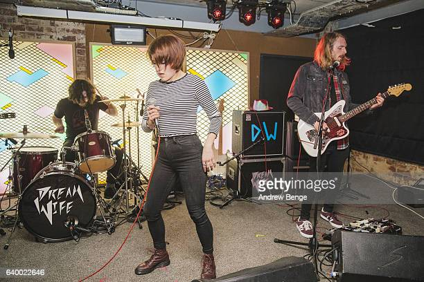 Jacob Marston Lucy Jowett and Joe Clarke of Dead Naked Hippies perform at Headrow House on January 21 2017 in Leeds United Kingdom