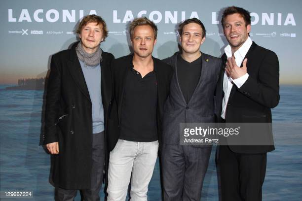 Jacob Matschenz Matthias Koeberlin Frederick Lau and Ken Duken attend the Laconia Premiere at Astor Film Lounge on October 19 2011 in Berlin Germany