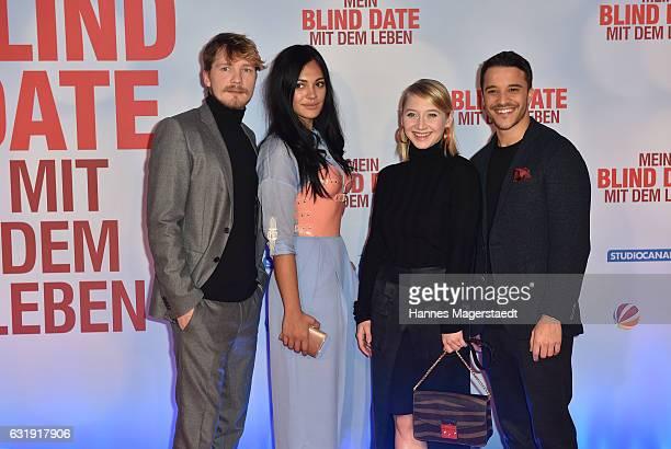 Jacob Matschenz Nilam Farooq Anna Maria Muehe and Kostja Ullmann during the 'Mein Blind Date mit dem Leben' Munich Premiere at Mathaeser Filmpalast...