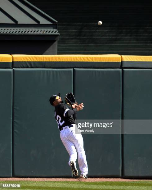 Jacob May of the Chicago White Sox makes a catch while fielding in outfield against the Detroit Tigers on April 6 2017 at Guaranteed Rate Field in...